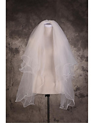Wedding Veil Three-tier Elbow Veils / Fingertip Veils Cut Edge / Pencil Edge Tulle Beige