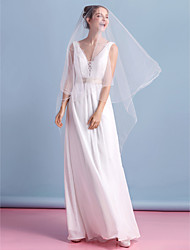 Sheath / Column Wedding Dress Ankle-length V-neck Chiffon with Lace