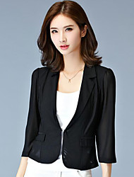 Women's Solid Simple Slim Grenadine Slim Blazer,Plus Size Notch Lapel ¾ Sleeve