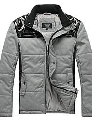 Lesmart Hombre Escote Chino Manga Larga Abajo y abrigos esquimales Gris - MDME10309