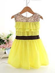 Girl's Yellow Dress,Floral Polyester Summer