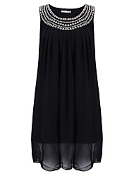 Round Neck Beaded Maternity Dress,Polyester Above Knee Sleeveless Chiffon