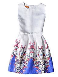 Girl's Cotton Summer Sleeveless Floral Print Pattern Print Dress