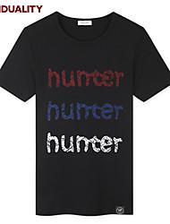 Trenduality® Hommes Col Arrondi Manche Courtes T-shirt Noir-43236