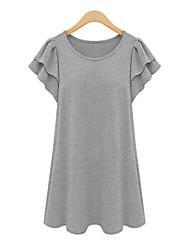 Damen Solide Übergröße / Street Schick Lässig/Alltäglich T-shirt,Rundhalsausschnitt Sommer Kurzarm Schwarz / Grau / GrünBaumwolle /