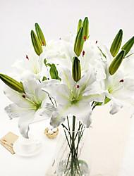 una rama de flores de seda lirios Aritificial multicolor opcional 1pc / set