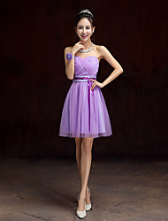 Knee-length Satin / Tulle Bridesmaid Dress A-line Strapless with Sash / Ribbon / Criss Cross