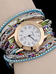 Damen Modeuhr Quartz Armbanduhren für den Alltag Legierung Band Schwarz / Weiß / Blau / Rot / Mehrfarbig / Rose Marke-