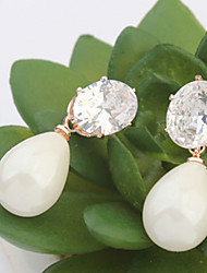 Water Drop Pearl Earrings Zircon Bridal Fashion Accessories