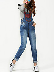 Women's Patchwork Blue Jumpsuits,Casual / Day Fashion Holes Strap Sleeveless High waist Cotton Denim Trousers