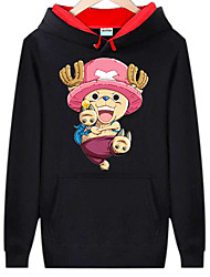 Inspiré par One Piece Monkey D. Luffy Manga Costumes de Cosplay Cosplay à Capuche Imprimé Manches Longues Haut Pour Masculin