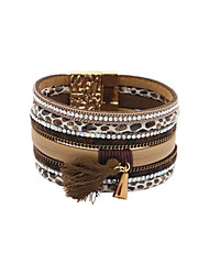 leather Charm BraceletsFashion Women Multi Rows Stone Set Leopard Print Leather Magnet Bracelet