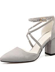Черный / Синий / Розовый / Серый-Женская обувь-Для офиса / Для праздника / На каждый день-Дерматин-На толстом каблуке-На каблуках / С