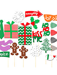 22PCS Christmas Card Paper Photo Booth Props Party Fun Favor