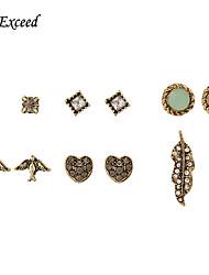 Earring Stud Earrings / Drop Earrings Jewelry Women Gemstone & Crystal / Gold 1pc White / Green