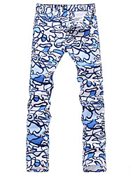 Men's Slim Doodle Print Light Weight Denim Jeans Long Pants