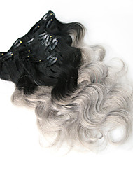 8A 100% Ombre Gray Clip In Human Hair Extensions Brazilian Hair Clip In Extension Body Wave
