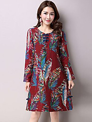 Women's Vintage Print Loose Dress,Round Neck Knee-length Linen