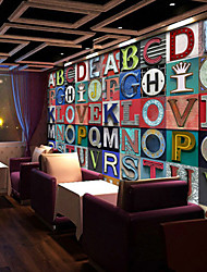Shinny Leather Effect Large Mural Wallpaper Retro Colourful Letter Art Wall Decor Wall Paper