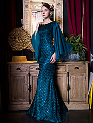 Formal Evening Dress-Ink Blue Trumpet/Mermaid Scoop Floor-length Lace / Satin / Tulle