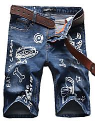 Men's Summer Fashion Cartoon Printed Knee Length Denim Jeans Shorts
