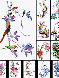 12PCS Flower Bird Decal Chinese Traditional Painting Oriole Temporary Tattoo Waterproof Sticker for Women Men Body Art