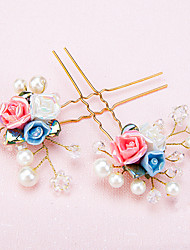 Women's / Flower Girl's Alloy / Imitation Pearl / Resin Headpiece-Wedding / Special Occasion Hair Pin 2 Pieces