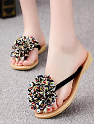 Women's Shoes Flower Beach Flat Heel Flip Flops / Comfort / Round Toe Sandals Casual Black / Beige
