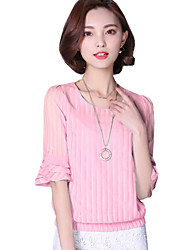 Summer Women's Round Neck Trumpet Sleeves Fashion Pleated Slim Casual Chiffon Shirt Blouse Tops