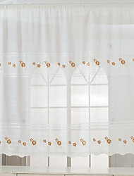 200cm*150cm White Floral Embroidery Linen Door Panel Sheer Curtains