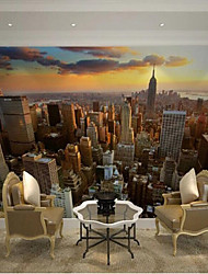 """(6'5 """"x 3'2 ft)High Quality Flash Silver Cloth City Dusk Tower in New York 3d Photo Wallpaper"""