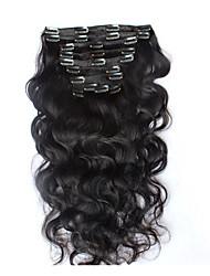 8a 100% clipe naturais Remy em extensões de cabelo humano brasileiro grampo de cabelo virgem na onda do corpo de extensão