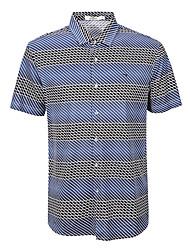 sete Brand® Masculino Colarinho de Camisa Manga Curta Camisa Azul-702T511353