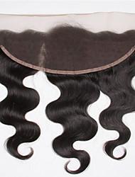 8-20inch Черный Лента спереди / Изготовлено вручную Естественные кудри Человеческие волосы закрытие Светло-коричневый Швейцарское кружево
