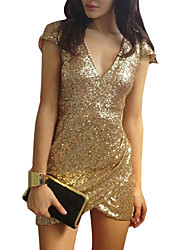 Women's Sexy Bodycon Sequins OL Slim Dresses  VICONE