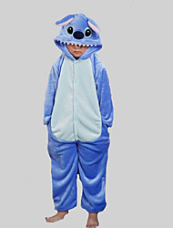Kigurumi Pajamas Stitch / Monster Leotard/Onesie Halloween Animal Sleepwear Blue Patchwork Flannel Kigurumi KidHalloween / Christmas /