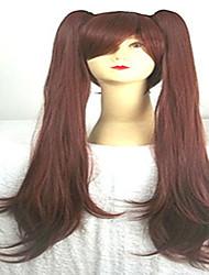 cosplay perruque noire perruque brun dessin animé super long animés perruques de cheveux synthétiques droites