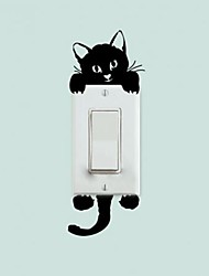Black Cute Cat Switch Decal Vinyl Wall Stickers Home Wall Decals Switch Decor