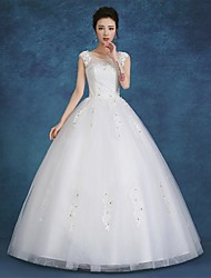 Ball Gown Wedding Dress Floor-length Scoop Satin / Tulle with Lace