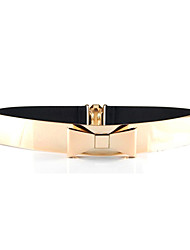 Women Mirror Waist Belt Metallic Bling Gold Plate Bow Elastic Wide Obi Belt Waistband