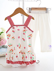 Girl's Casual/Daily Print Clothing Set,Cotton Summer White