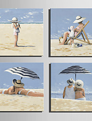 Mini Size E-HOME Oil painting Modern Leisure Time On The Beach Pure Hand Draw Frameless Decorative Painting