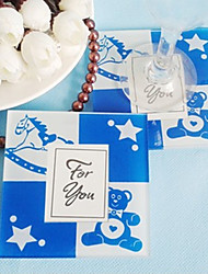 2pcs/box Baby blue Cute Baby Bear Glass Photo Coasters Shanghai Beter Gifts® Back To School Party Favors
