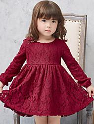 Vestido / Conjunto de Ropa Chica de-Verano-Poliéster-Rojo