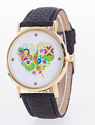 Men's Light Gold Watchcase Flower Leaves Love Disk Leather Strap Watch