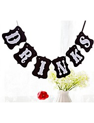 Black Drinks Banner Sign Bunting Wedding Engagement Bridal Baby Shower Banner Party Prop