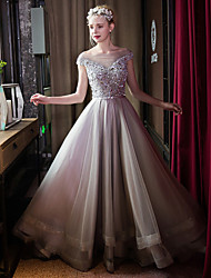 Formal Evening Dress-Silver Ball Gown Bateau Sweep/Brush Train Tulle