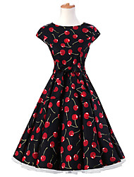 50s Era Vintage Style Cap Sleeves Rockabilly Dress Cosplay Costume Black Cherry Print (with Petticoat)