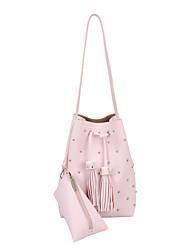 DAVIDJONES/Women PU Bucket Shoulder Bag / Tote-White / Pink / Blue / Gray / Black
