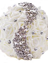 Bouquet sposa Tondo Rose Bouquet Matrimonio Partito / sera Poliestere Raso Strass 22cm